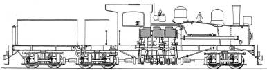 Diagram of a Shay locomotive